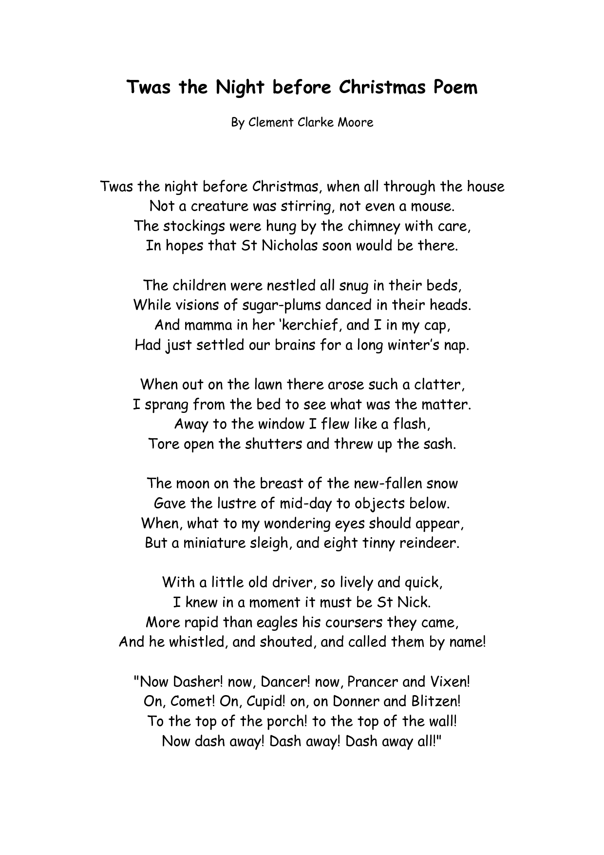 christmas poems twas the night before